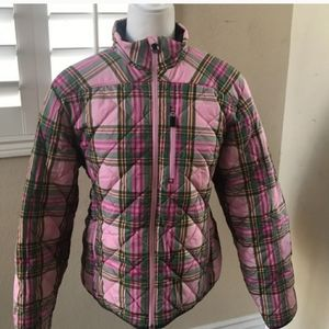 Lands end pink and green plaid jacket